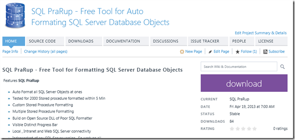 Launching SQL PraRup - Free Tool for Formatting SQL Server Database Objects (3/3)