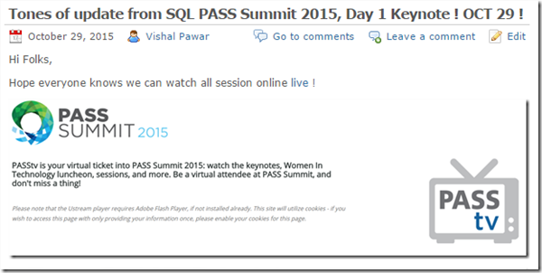 Day 2 Keynote - SQL PASS Summit 2015–Its all about IoT– Screen Post! (1/6)